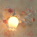 1 Head Tulip Wall Mount Lamp Pastoral Pink/Blue Frosted White Glass Sconce Light Fixture for Bedroom