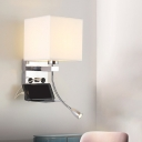 Cube Fabric Reading Wall Light Modernist 1-Bulb Black/Beige/Coffee Spotlight Wall Lamp Fixture for Bedroom