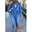 Vintage Womens Jacket Faded Wash Pocket Flap Design Ruffle Hem Button down Slim Fit Long Sleeve Turn-down Collar Denim Jacket