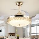 Bowl Shaped Acrylic Ceiling Fan Lamp Modernist Gold 4-Blade LED Semi Flush Mounted Light, 19