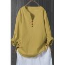 Vintage Womens Shirt Solid Color Cotton Linen Button Hem Regular Fitted Long Sleeve Split Neck Pullover Shirt