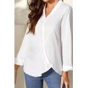Womens Shirt Fashionable Plain Cotton Linen Oblique Button down Loose Fit Long Sleeve Turn-down Collar Shirt