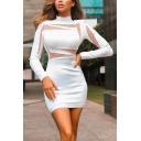 Sexy Women's Bodycon Dress Patchwork Mesh Gauze Contrast Panel Mock Neck Long Sleeves Slim Fitted Short Bodycon Dress