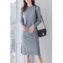 Trendy Women's Sweater Dress Solid Color Ribbed Trim Crew Neck Long-sleeved Regular Fitted Sweater Dress