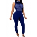Womens Jumpsuit Stylish Rhinestone Feather Design See-Through Mesh Mock Neck Skinny Fitted Sleeveless Jumpsuit