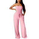 Vintage Womens Jumpsuit Solid Color Shirred Detail Drawstring-Waist Strapless Slim Fitted Sleeveless Wide Leg Jumpsuit