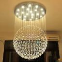 Spherical Restaurant Flush Ceiling Light Crystal Orb 5 Bulbs Modernism Flush Mounted Lamp in Stainless Steel