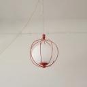 Industrial Blue/Orange/White Pendant Light Egg 1 Light Metal Ceiling Pendant with Melon Cage for Office