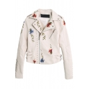 Stud Embellished Floral Embroidered Notched Lapel Collar Long Sleeve Zip Up PU Jacket