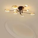 Sputnik Semi Flush Mount Light Contemporary Metal 4/6-Light Bedroom LED Ceiling Lamp in Warm/White Light