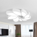 Nordic Olive Wreath Ceiling Lamp Acrylic Living Room LED Flush Mounted Light in Warm/White/3 Color Light