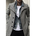Mens Coat Simple Houndstooth Print Button Detail Long Sleeve Mid-Length Lapel Collar Slim Fit Woven Coat