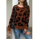 Fancy Women's Sweater All over Leopard Print Rib-Knit Cuffs Round Neck Long Sleeves Regular Fit Pullover Sweater