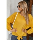 Basic Sweater Solid Color Button Decoration Front Tie Crew Neck Long-sleeves Regular Fit Pullover Sweater for Women