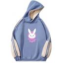 Womens Hooded Sweatshirt Stylish Rabbit Letter DVA Pattern Color Block Side Panel Long Sleeve Relaxed Fitted Hooded Sweatshirt