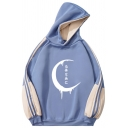 Womens Hooded Sweatshirt Casual Crescent Moon Japanese Letter Pattern Contrast Panel Long Sleeve Relaxed Fitted Hooded Sweatshirt