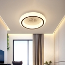Nordic Style Circle Ceiling Light Fixture Acrylic Hotel LED Flush Mount Lamp with Hot Air Balloon/Moon/Deer Pattern in White