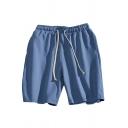 Classic Mens Shorts Side Seam Pockets Regular Fitted Drawstring Waist Knee-Length Sport Shorts