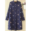 Womens Shirt Trendy Flag Dot Rhombus Pattern Cut-out Hem Button up Tunic Spread Collar Long Roll-Tab Sleeve Loose Fit Shirt