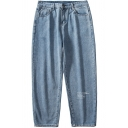Guys Fashion Letter Printed Straight Loose Fit Light Blue Jeans