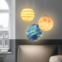 Saturn/Earth Kids Bedside Down Lighting Blue/Yellow Glass 1 Head Creative Modern Hanging Pendant, 8