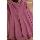 Vintage Women's Shirt Solid Color Pleated Button Detail V Neck Long-sleeved Tunic Blouse Shirt