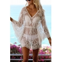 Sexy Women's A-Line Dress Transparent Broderie Detail Drawstring Waist Scalloped Hem V Neck Batwing Sleeves A-Line Dress