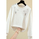 Womens Sweatshirt Casual Dreamcatcher Arrow Embroidery Thickened Long Sleeve Relaxed Fit Crew Neck Pullover Sweatshirt