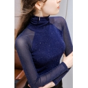 Vintage Womens T-Shirt Mesh Bright Silk Long Sleeve High Neck Slim Fitted Bottoming T-Shirt