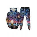Mens Co-ords Stylish 3D Figure Dog Sky Painting Long Sleeve Hoodie Ankle Length Tapered Pants Slim Fit Jogger Co-ords
