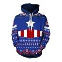 Mens Hoodie Trendy Star Stripe Snowflake Zigzag Tree Pattern Drawstring Long Sleeve Slim Fit Hooded Sweatshirt
