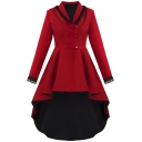 Cool Womens Trench Coat Swallow-Tailed Lace Trim Patchwork Lace-up Back Button down Slim Fit Long Sleeve A-Line Trench Coat