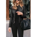 Womens Suit Jacket Trendy Solid Color Zipper down Slim Fit Long Sleeve Stand Collar Leather Jacket