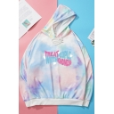 Basic Womens Hoodie Tie Dye Letter Treat People with Kindness Print Drawstring Long Sleeve Relaxed Fitted Hooded Sweatshirt
