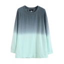 Cool Women's Sweatshirt Ombre Pattern Round Neck Long-sleeved Relaxed Fit Pullover Sweatshirt