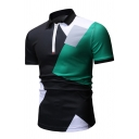 Summer New Fashion Colorblock Zip Up Lapel Collar Short Sleeve Slim Fit Polo Shirt for Men