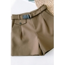 Womens Shorts Fashionable Solid Color Woolen Sewing Darts D-Ring Belted Wide Leg High Waist Regular Fitted Relaxed Shorts