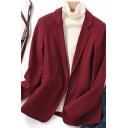 Elegant Women's Jacket Solid Color Pocket Detailed Notched Collar Long-sleeved Regular Fit Suit Jacket