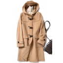 Womens Coat Fashionable Solid Color Toggle-Button Detail Double Flap Pockets Front Long Sleeve Hooded Loose Fit Mid-Length Wool Coat