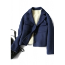 Womens Coat Stylish Solid Color Flap Chest Pockets Double-Face Button up Cropped Lapel Collar Regular Fit Long Sleeve Wool Coat