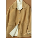 Womens Coat Simple Double Flap Pockets Front Button Detail Long Sleeve Mid-Length Turn down Collar Loose Fit Wool Coat
