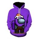 Lovely Cartoon Hamburger 3D Printed Long Sleeves Purple Drawstring Hoodie