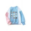 Color Block Cartoon Cat Printed Round Neck Long Sleeve Sweatshirt