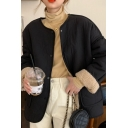 Basic Women's Jacket Solid Color Pockets Button-down Plushed Collarless Long Sleeves Regular Fitted Jacket