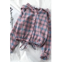 Fashion Women's Long Sleeve Hooded Plaid Printed Button Down Drawstring Hem Relaxed Shirt