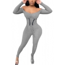 Novelty Womens Jumpsuit Plain Rib Knit Lace-up Corset Waist Long Sleeve off Shoulder Skinny Fitted Jumpsuit