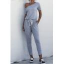 Novelty Womens Jumpsuit Plain Drawstring-Waist Slim Fitted Short Sleeve Sloping Shoulder Jumpsuit with Pockets