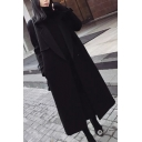 Elegant Womens Woolen Coat Solid Color Button Detailed Notched Collar Long Sleeves Regular Fitted Woolen Coat