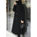 Trendy Womens Woolen Coat Solid Color Flap Pockets Button-down Turn-down Collar Long Sleeves Regular Fitted Coat