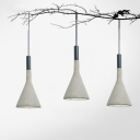 1 Light Ceiling Hang Lamp Nordic Dining Room Hanging Pendant with Funnel Cement Shade in Grey/Red/Black
